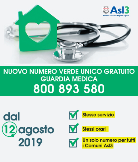Nuovo numero verde unico Guardia Medica 800 893 580 - new